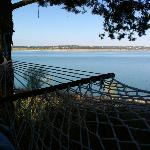 Lake access; great little hammock/patio area with a small grill