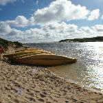 Canoes available at nearby 'Rivermouth', where Margaret River meets the Indian Ocean