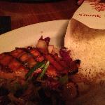 Clever presentation of Basmati Rice alongside Peanut-Lime Glazed Salmon
