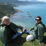 Stopping for a breather to take in the view of the Kaikoura coast bellow.