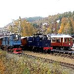 Trains at the Thamshavn Railway, run by Orkla Industry Museum