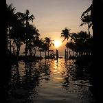 the beautiful swimming pool when sunset