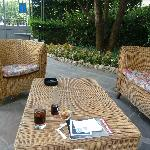 Outdoor seating near the bar