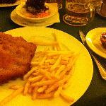 Great Cordon Bleu, chips and salad