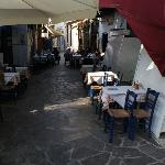 Restaurant tables laid out in the street
