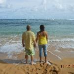 Hubby and I walking on the beach..