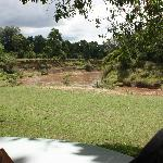 Outdoor dining for breakfast and lunch overlooking Mara River