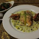 Salmon with Grilled Prawns and Leek Sauce!