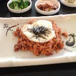 BBQ pork with kim chee fried rice with egg over easy sprinkled with nori