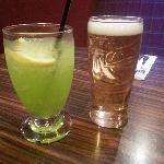 Japanese slipper cocktail and half a Carlsberg....yum!