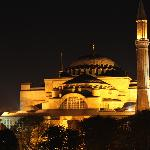 Hagia Sophia from our balcony at night