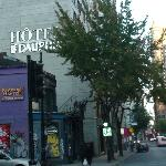 View of hotel from the street (behind the horror house)