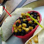 Great tacos with corn and blackbean side