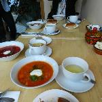 bean soup, borsh, pirogki