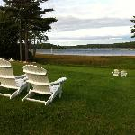 The back lawn, looking over the Kennebec River