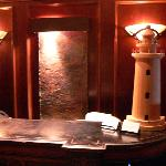 water feature at the entry of Lighthouse Grill