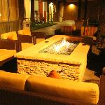 clear glass fire pit