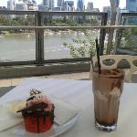 Eating and drinking in the view as well as the ruby velvet cake and iced chocolate