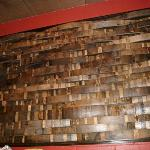 behind the counter wine barrel staves