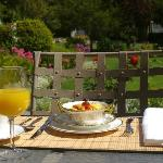 Breakfast outside in the garden