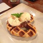 waffle pretzel, nutella, vanilla ice cream