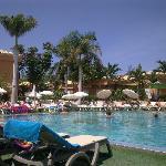 Sunbathing at poolside
