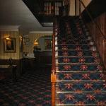 Staircase up to the guest rooms and the hotel dining room