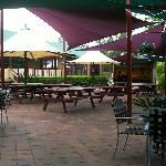outdoor dining/stage area
