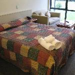 Spacious bed/seating area