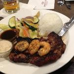Ribeye topped with grilled shrimp. I chose to have Jasmine rice with mine.