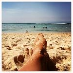 Laying out on Padang Padang Beach on a very sunny and hot November day