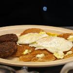 Sausage, eggs, pancakes