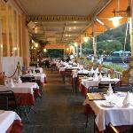 Terrace restaurant overlooking Lake Como at Hotel Metropole Bellagio, Bellagio, Italy