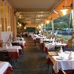 Terrace restaurant overlooking Lake Como at Hotel Metropole Bellagio, Bellagio, Italy
