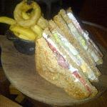 club sandwich in bar