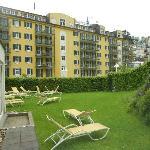 Area to sunbathe outside resort pool/spa