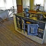 The kitchen and old stove at the Hughes House
