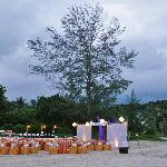 A sample setup of a private dinner on the beach