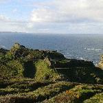 View across grounds onto ocean