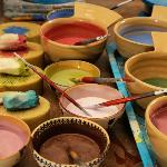 Bowls filled with a range of our coloured glazes.