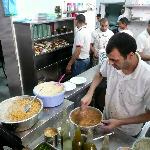 Making the humous/chickpeas