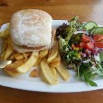 vegetarian burger meal