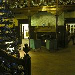 The historic reception decorated for Christmas - check out the inscription over the fire place