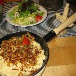 Spaetzle and salad