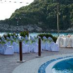 Ceremony area with a view of the beach