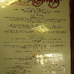 Oceanarium menu.