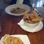 Filo prawns, wedges and pasta