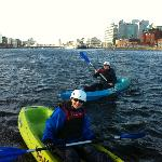 Kayaking on the river Liffey