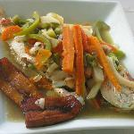 Steamed Fish with Vegetables and Plantains