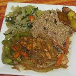 Stewed Oxtail with Rice & Peas, Steamed Vegetables and Plantains